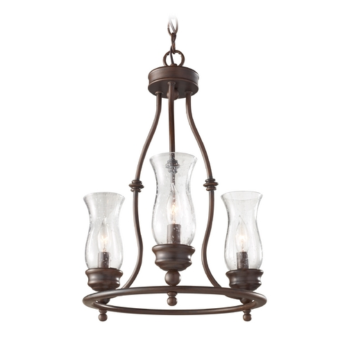 Feiss Lighting Chandelier with Clear Glass in Heritage Bronze Finish F2782/3HTBZ