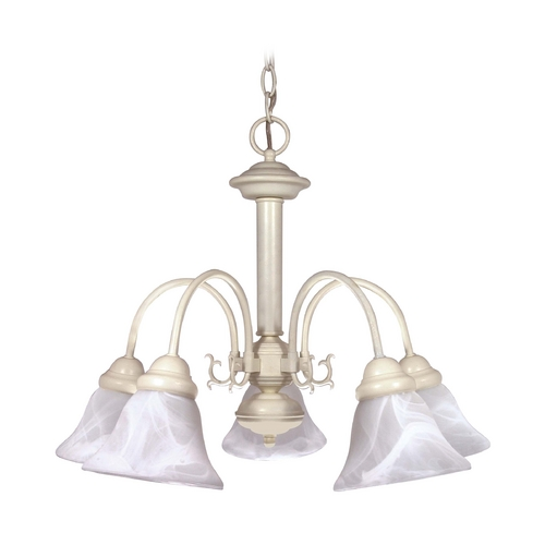 Nuvo Lighting Chandelier with Alabaster Glass in Textured White Finish 60/187