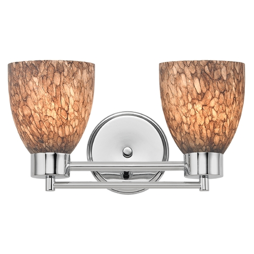 Design Classics Lighting Modern Bathroom Light with Brown Art Glass in Chrome Finish 702-26 GL1016MB