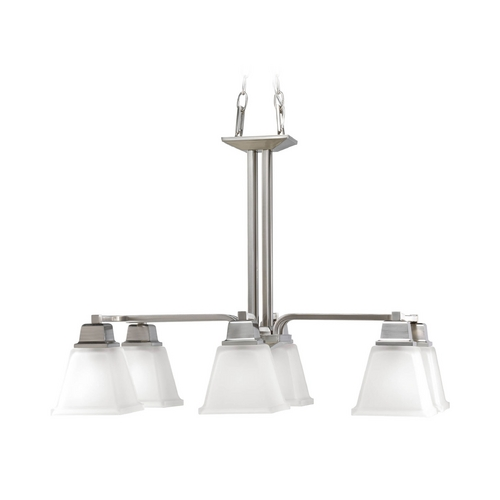 Progress Lighting Progress Chandelier with White Glass in Brushed Nickel Finish P4003-09