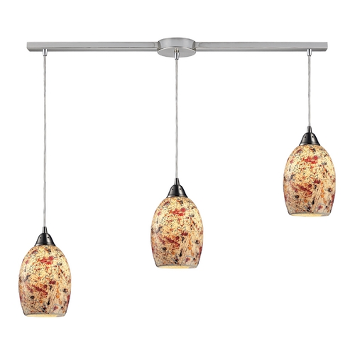 Elk Lighting Modern Multi-Light Pendant Light with Multi-Color Glass and 3-Lights 73011-3L