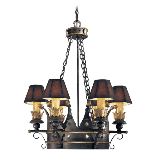 Metropolitan Lighting Chandelier in French Black with Gold Leaf Finish - Shades Not Included N6108-20