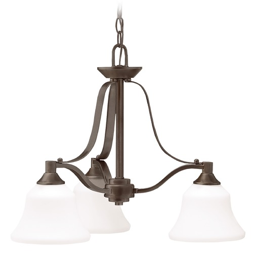 Kichler Lighting Kichler Chandelier with White Glass in Olde Bronze Finish 1781OZ