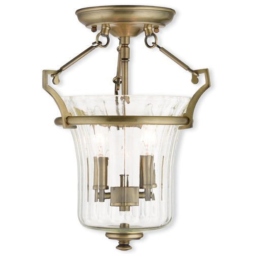 Livex Lighting Livex Lighting Cortland Antique Brass Semi-Flushmount Light 50921-01