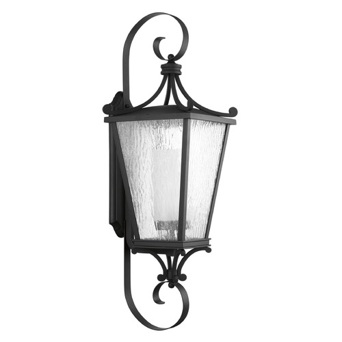 Progress Lighting Etched Seeded Glass Outdoor Wall Light Black Progress Lighting P6629-31