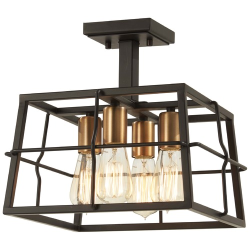 Minka Lavery Minka Lavery Keeley Calle Painted Bronze with Natural Brush Semi-Flushmount Light 4769-416