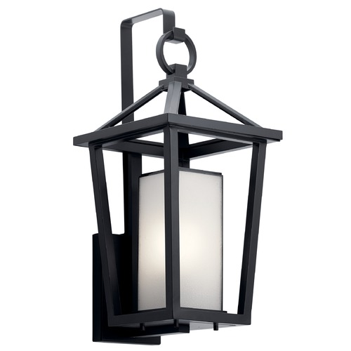 Kichler Lighting Pai Medium Black Outdoor Wall Light with Bound Etched Seeded Glass 49877BK