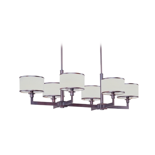 Maxim Lighting Modern Chandelier with White Shades in Oil Rubbed Bronze Finish 12057WTOI
