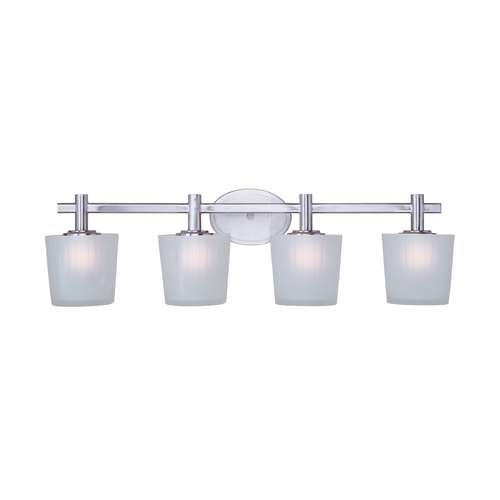 Maxim Lighting Bathroom Light with White Glass in Satin Nickel Finish 21514FTSN