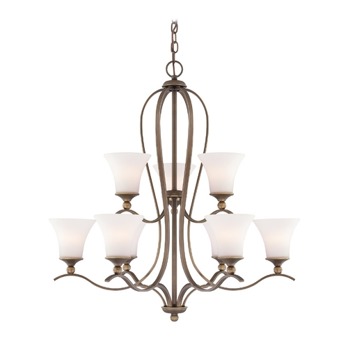 Quoizel Lighting Chandelier with White Glass in Palladian Bronze Finish SPH5009PN