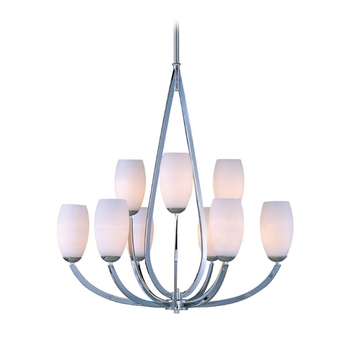 Maxim Lighting Modern Chandelier with White Glass in Polished Chrome Finish 22176SWPC