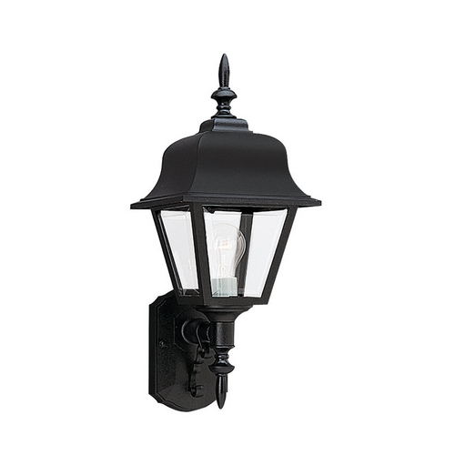 Sea Gull Lighting Outdoor Wall Light with Clear Glass in Black Finish 8765-12