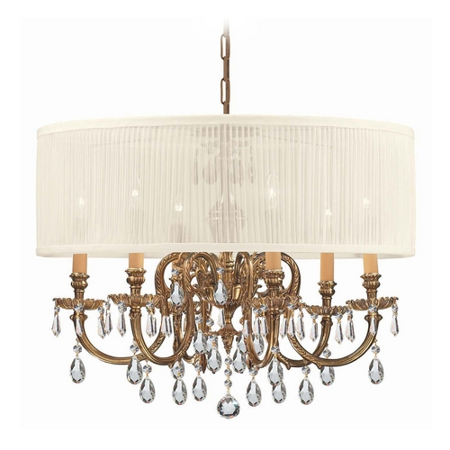 Crystorama Lighting Crystal Chandelier with White Shade in Olde Brass Finish 2916-OB-SAW-CLM
