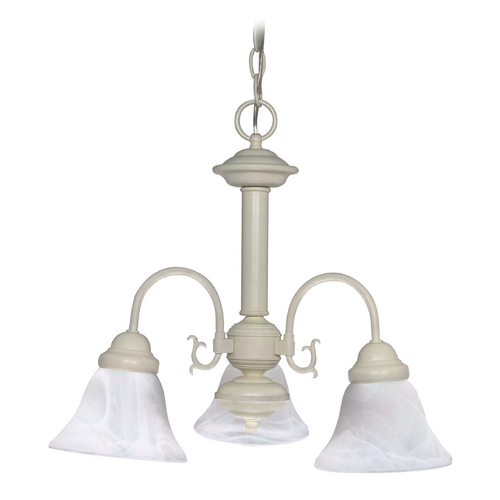 Nuvo Lighting Mini-Chandelier with Alabaster Glass in Textured White Finish 60/188