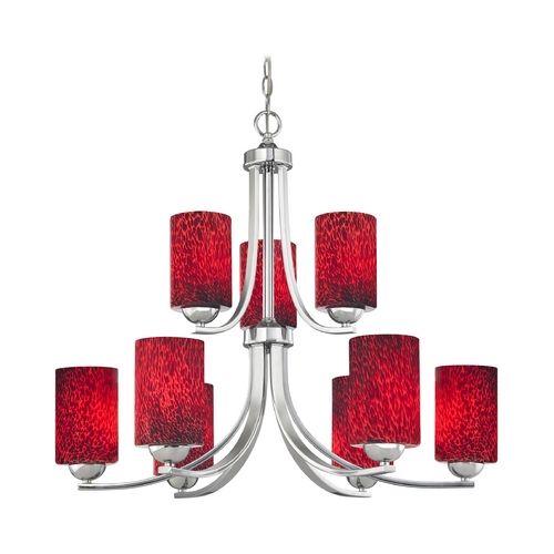 Design Classics Lighting Chrome Chandelier with Cylinder Red Art Glass Shades and Nine Lights 586-26 GL1018C