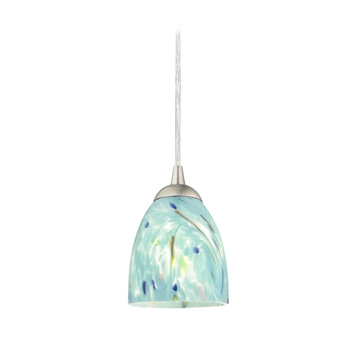 Design Classics Lighting Contemporary Mini-Pendant Light with Turquoise Art Glass 582-09 GL1021MB