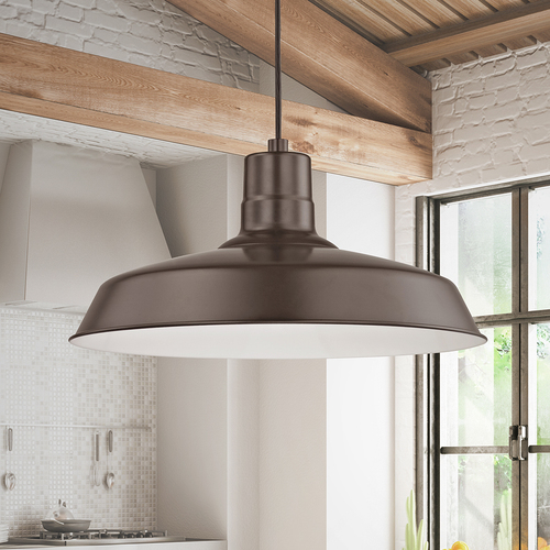 Recesso Lighting by Dolan Designs Bronze Cord Hung Pendant Barn Light with 16