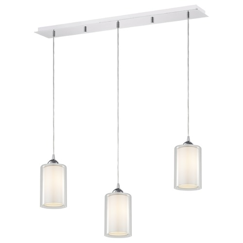 Design Classics Lighting 36-Inch Linear Pendant with 3-Lights in Chrome Finish with Clear / Frosted White Glass 5833-26 GL1061 GL1040C