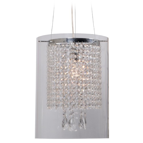 Kenroy Home Lighting Kenroy Home Lighting Monroe Chrome Pendant Light with Cylindrical Shade 93405CLR