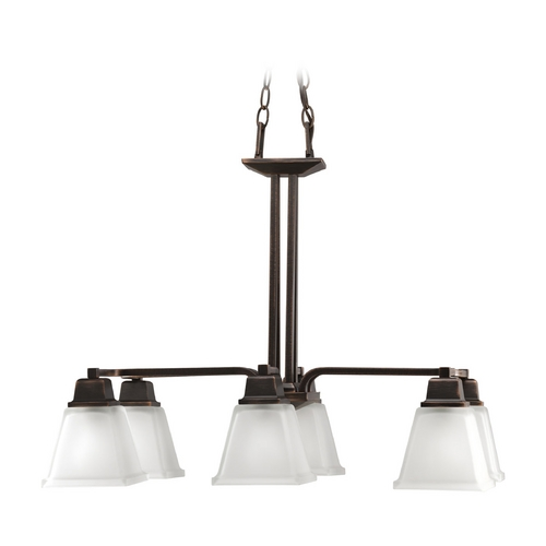 Progress Lighting Progress Chandelier with White Glass in Venetian Bronze Finish P4003-74