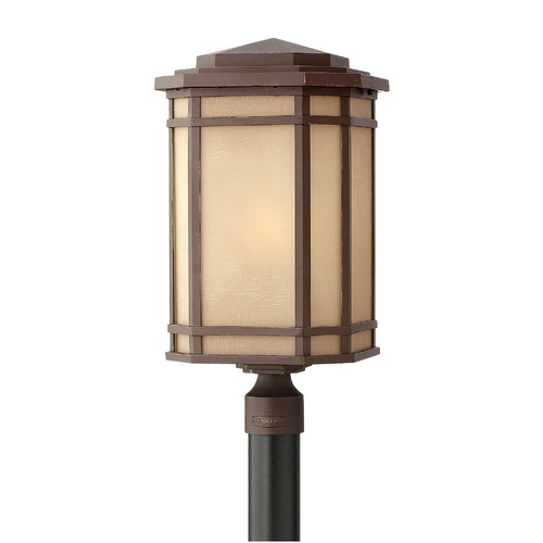 Hinkley Lighting Post Light with Amber Glass in Oil Rubbed Bronze Finish 1271OZ