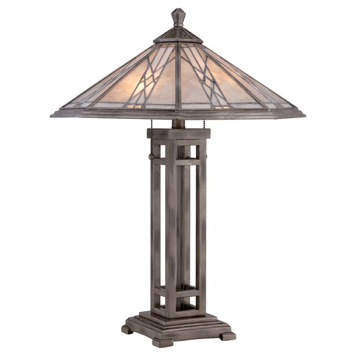 Quoizel Lighting Quoizel Cyrus Anniversary Silver Table Lamp with Hexagon Shade MCCS6326AS