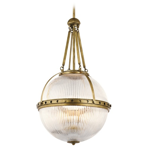 Kichler Lighting Kichler Lighting Aster Natural Brass Pendant Light with Globe Shade 43968NBR