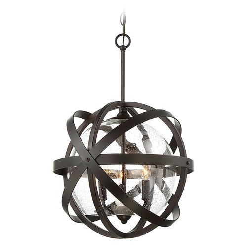 Savoy House Seeded Glass Pendant Light Bronze Savoy House 7-8091-3-13