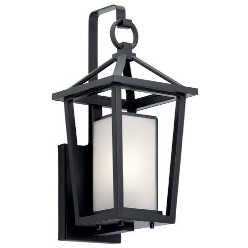 Kichler Lighting Pai Small Black Outdoor Wall Light with Bound Etched Seeded Glass 49876BK