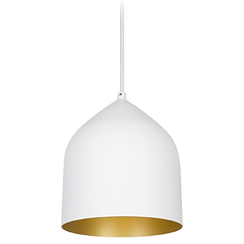 Kuzco Lighting Kuzco Lighting Helena White with Gold Mini-Pendant Light with Bowl / Dome Shade 49108-WH/GD