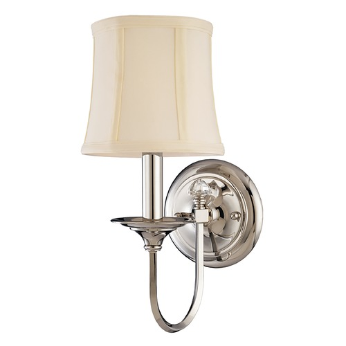 Hudson Valley Lighting Sconce Wall Light with White Shade in Polished Nickel Finish 1811-PN