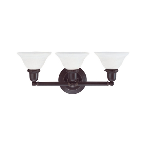 Sea Gull Lighting Bathroom Light with White Glass in Heirloom Bronze Finish 49066BLE-782