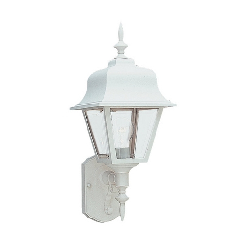 Sea Gull Lighting Outdoor Wall Light with Clear Glass in White Finish 8765-15