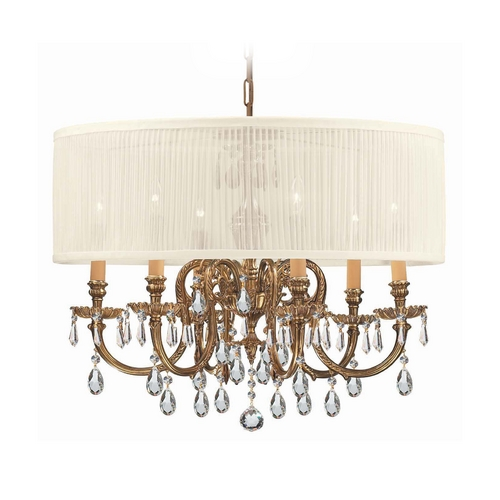 Crystorama Lighting Crystal Chandelier with White Shade in Olde Brass Finish 2916-OB-SAW-CLQ