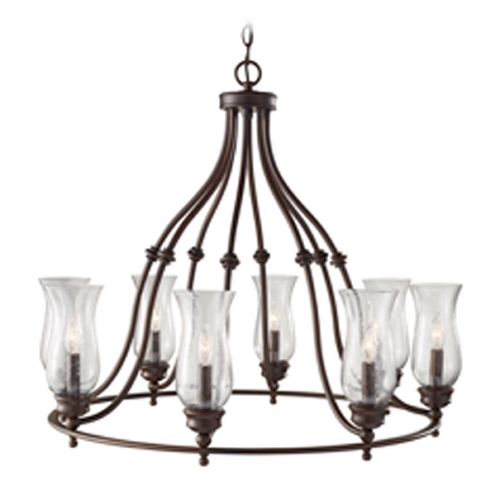 Feiss Lighting Chandelier with Clear Glass in Heritage Bronze Finish F2784/8HTBZ