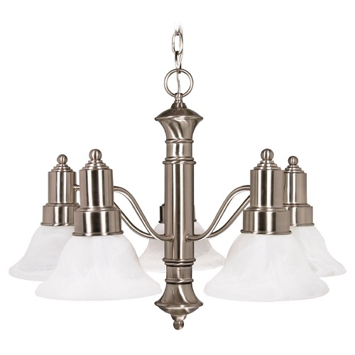 Nuvo Lighting Chandelier with Alabaster Glass in Brushed Nickel Finish 60/189