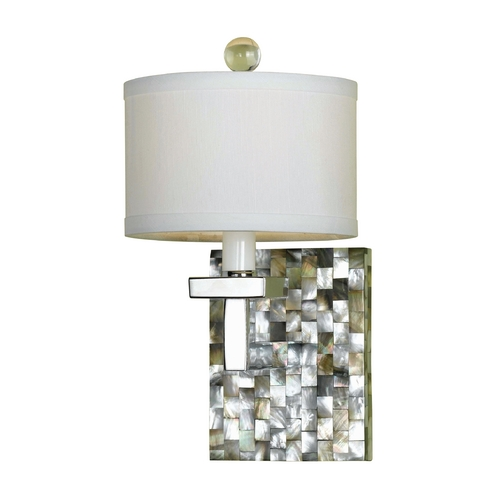 AF Lighting Modern Sconce Wall Light with White Shade in Mosaic Finish 7485-1W