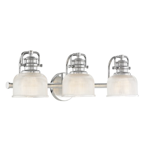 Design Classics Lighting Prismatic Glass 3-Light Bathroom Light in Chrome Finish JJ 1793-26/FC