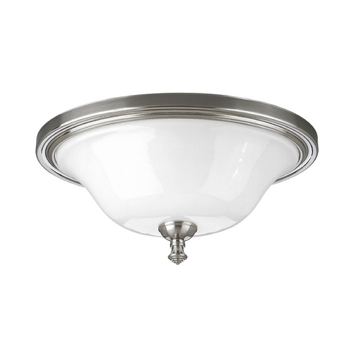 Progress Lighting Progress Flushmount Light with White Glass in Brushed Nickel Finish P3326-09