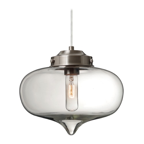Besa Lighting Besa Lighting Mira Satin Nickel Pendant Light with Oblong Shade 1JT-MIRACL-SN