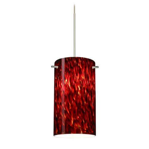 Besa Lighting Besa Lighting Stilo 7 Satin Nickel Mini-Pendant Light with Cylindrical Shade 1XT-440441-SN