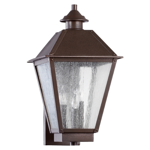 Quorum Lighting Seeded Glass Outdoor Wall Light Oiled Bronze Quorum Lighting 7024-3-86