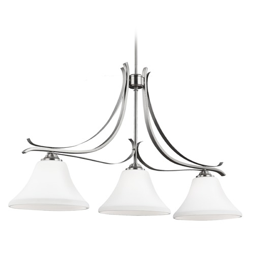 Feiss Lighting Feiss Lighting Summerdale Satin Nickel Island Light with Bell Shade F2982/3SN