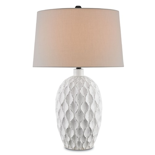 Currey and Company Lighting Currey and Company Tazetta Antique White Table Lamp with Empire Shade 6843