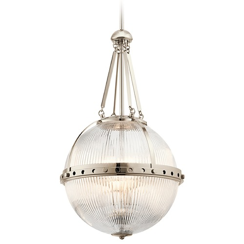 Kichler Lighting Kichler Lighting Aster Polished Nickel Pendant Light with Globe Shade 43968PN