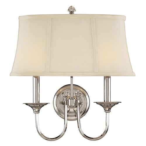 Hudson Valley Lighting Sconce Wall Light with White Shade in Polished Nickel Finish 1812-PN