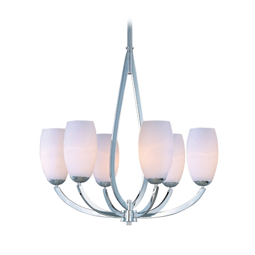 Maxim Lighting Modern Chandelier with White Glass in Polished Chrome Finish 22175SWPC