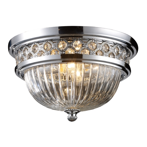 Elk Lighting Modern Flushmount Light with Clear Glass in Polished Chrome Finish 11225/2