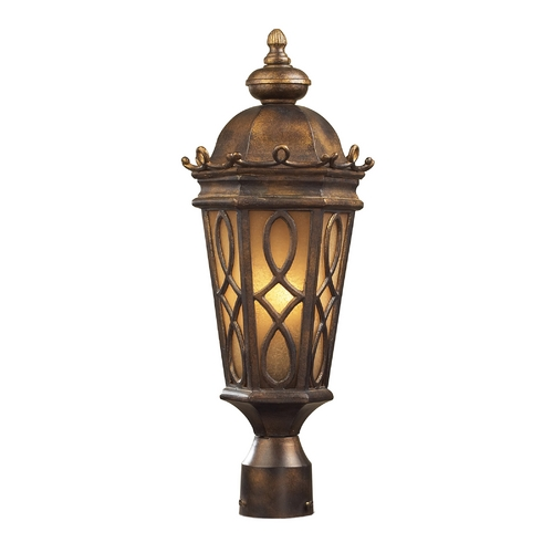 Elk Lighting Post Light with Beige / Cream Glass in Hazlenut Bronze Finish 42004/2