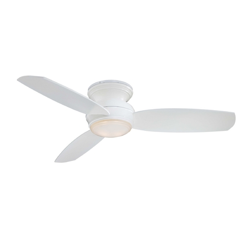 Minka Aire Modern Ceiling Fan with Light with White Glass in White Finish F594-WH